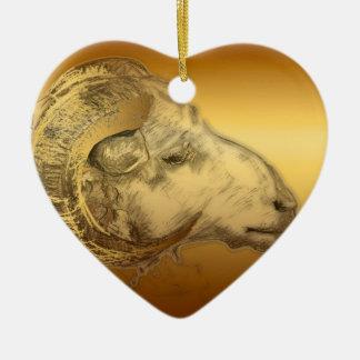 2015 años de las ovejas o de la cabra - ornamento adorno navideño de cerámica en forma de corazón