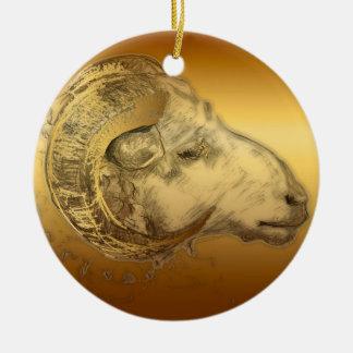 2015 años de las ovejas o de la cabra - ornamento adorno navideño redondo de cerámica
