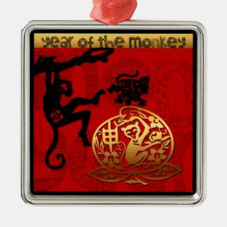 2016 años del Año Nuevo chino del mono Adorno Navideño Cuadrado De Metal