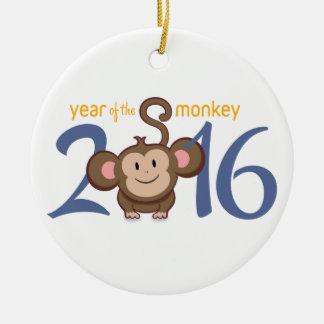 2016 años del mono adorno navideño redondo de cerámica
