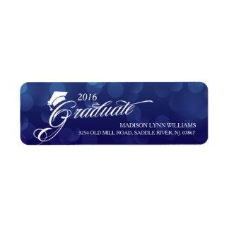 2016 Bokeh azul graduado enciende la graduación Etiqueta De Remitente