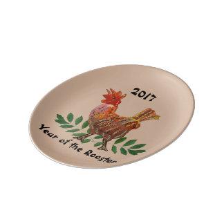 2017 años del gallo plato de porcelana