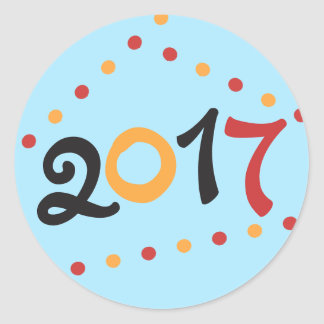 2017 Años Nuevos Pegatina Redonda