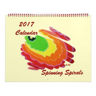 2017 página enorme de giro de los espirales del calendario de pared