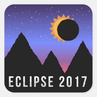 2017 pegatinas temáticos del eclipse solar pegatina cuadrada