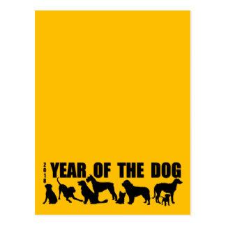 2018 años de la postal del amarillo V del perro