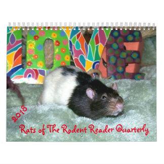 2018 RATAS del calendario del lector del roedor