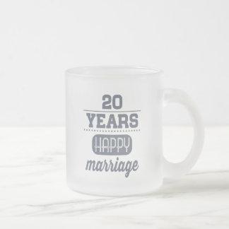 20 años de boda feliz taza de cristal esmerilado