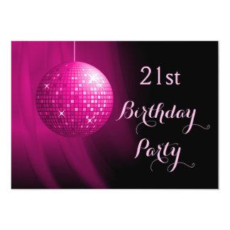 21ra bola de discoteca atractiva del fiesta de las invitación 12,7 x 17,8 cm