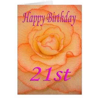 21ra flor feliz del cumpleaños tarjeta de felicitación