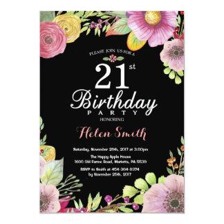 21ra invitación floral del cumpleaños para las