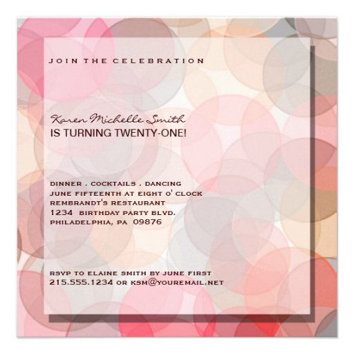 21ra invitación moderna minimalista de la fiesta d