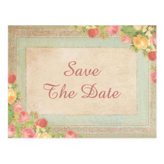 21ra reserva de los rosas elegantes del vintage la tarjeta postal