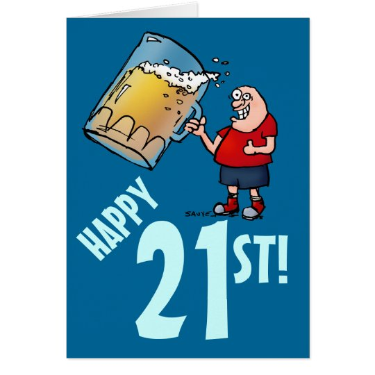 21ra tarjeta de cumpleaños divertida con el dibujo