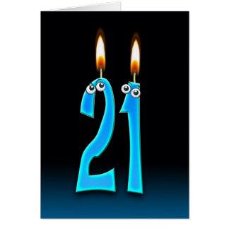 21ra vela del cumpleaños con los globos del ojo tarjeta de felicitación