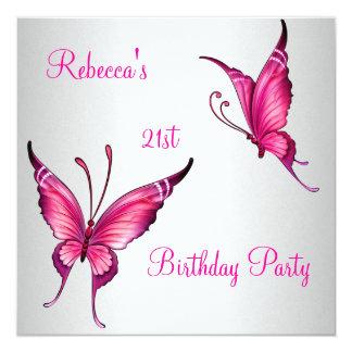 21ro blanco rosado brillante de la fiesta de invitación 13,3 cm x 13,3cm