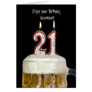 21ro Cerveza del cumpleaños para el nieto Tarjeta De Felicitación