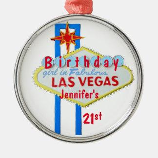 21ro Colgante de Las Vegas del cumpleaños Adorno Redondo Plateado