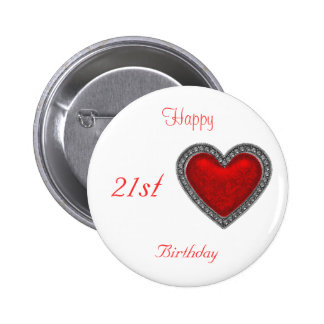 21ro corazón feliz del rojo del botón del cumpleañ