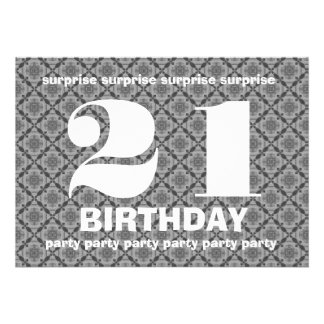 21ro Cumpleaños de la sorpresa blanco y negro con Anuncio