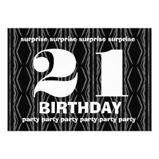 21ro Cumpleaños de la sorpresa blanco y negro con Comunicados