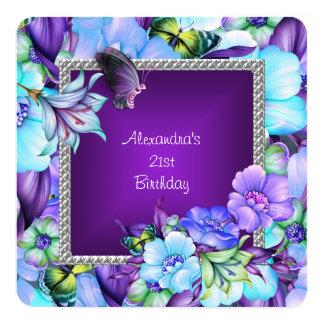 21ro cumpleaños de las flores de plata púrpuras invitación 13,3 cm x 13,3cm