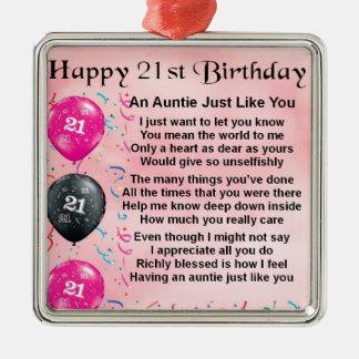 21ro cumpleaños de tía Poem Adorno Navideño Cuadrado De Metal