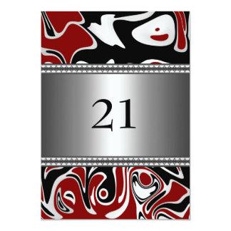 21ro cumpleaños del borde de plata rojo blanco invitación 12,7 x 17,8 cm