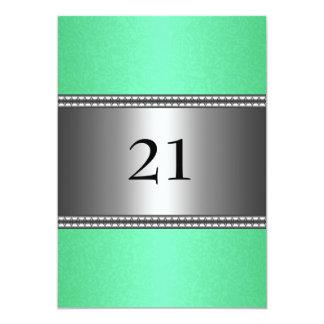 21ro cumpleaños del falso borde de plata verde de invitación 12,7 x 17,8 cm