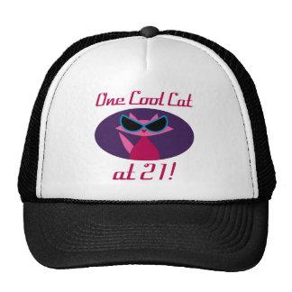 21ro cumpleaños del gato fresco gorros
