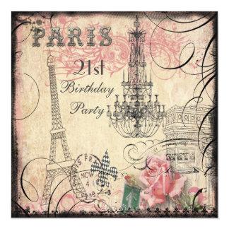 21ro cumpleaños elegante de la torre Eiffel y de Invitacion Personalizada