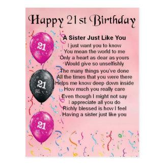 21ro cumpleaños feliz - poema de la hermana tarjeta postal