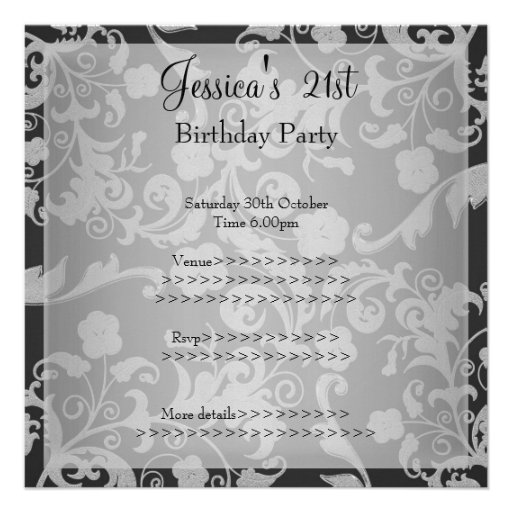 21ro cumpleaños floral metálico gris negro retro 1 comunicado personalizado