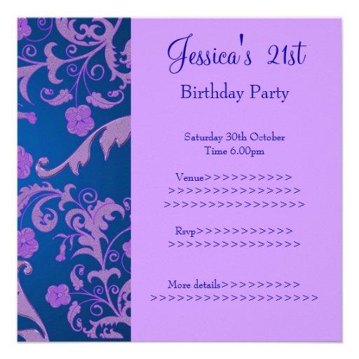 21ro cumpleaños floral metálico púrpura azul retro invitación personalizada