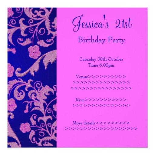 21ro cumpleaños floral metálico rosado azul retro  invitacion personal