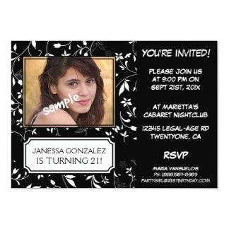 21ro Cumpleaños para señora joven BW floral con la Invitación 12,7 X 17,8 Cm