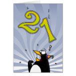 21ro cumpleaños - tarjeta de la sorpresa del pingü