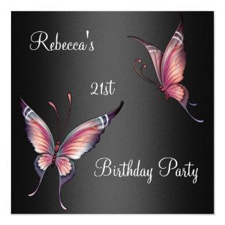 21ro de cumpleaños de las mariposas de la fiesta invitación 13,3 cm x 13,3cm
