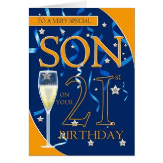 21ro Hijo del cumpleaños - vidrio de Champán Tarjeta De Felicitación