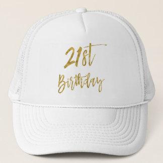 21ro Hoja de oro del cumpleaños y gorra blanco del