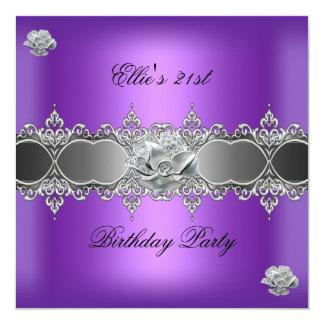 21ro Joya floral de plata púrpura elegante del Invitación 13,3 Cm X 13,3cm
