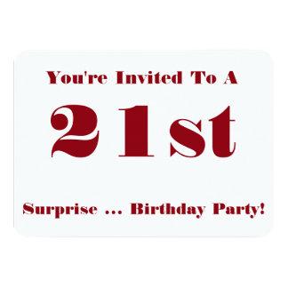 21ro La fiesta de cumpleaños de la sorpresa Invitación 11,4 X 15,8 Cm