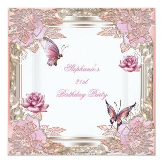 21ro Mariposa blanca subió rosa de la fiesta de Invitación 13,3 Cm X 13,3cm