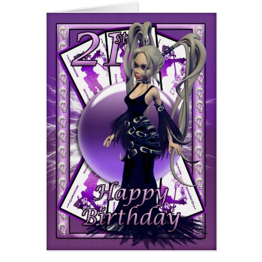 21ro Muñeca gótica de la tarjeta de cumpleaños, sk