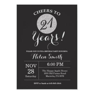 21ro Negro de la invitación del cumpleaños y