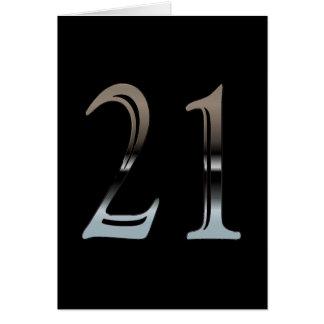 21ro Número de plata 21 del cumpleaños Tarjeta