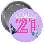 21ro Princesa púrpura Buttons del cumpleaños Pin