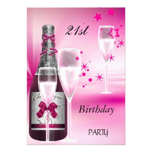 21ro Rosa Champán 21 de la fiesta de cumpleaños Invitacion Personalizada