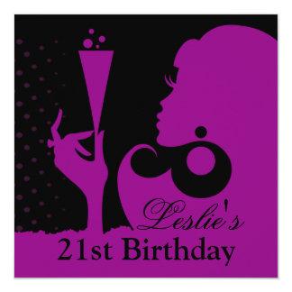21ro Rosa del cóctel del cumpleaños Invitación 13,3 Cm X 13,3cm