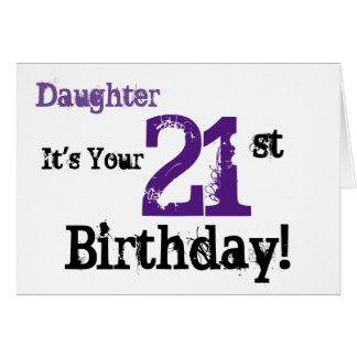 21ro saludo del cumpleaños de Daughte en el negro, Tarjeta De Felicitación
